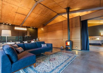Enjoy the open-plan design and the wood fire.